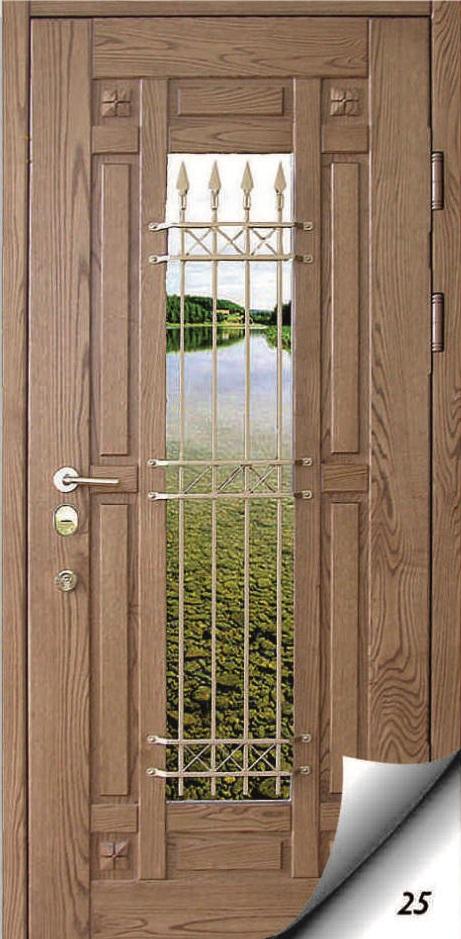 входные металлические двери с зеркалом и ковкой