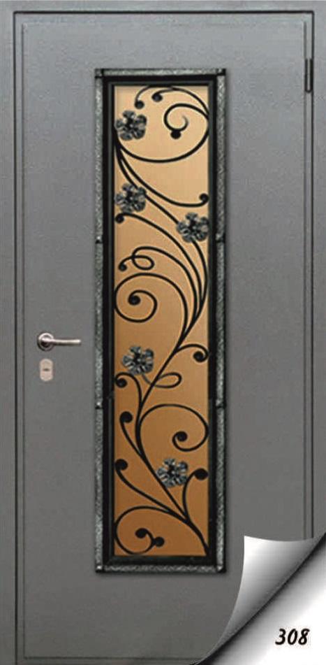 входные двери со стеклопакетом и элементами ковки