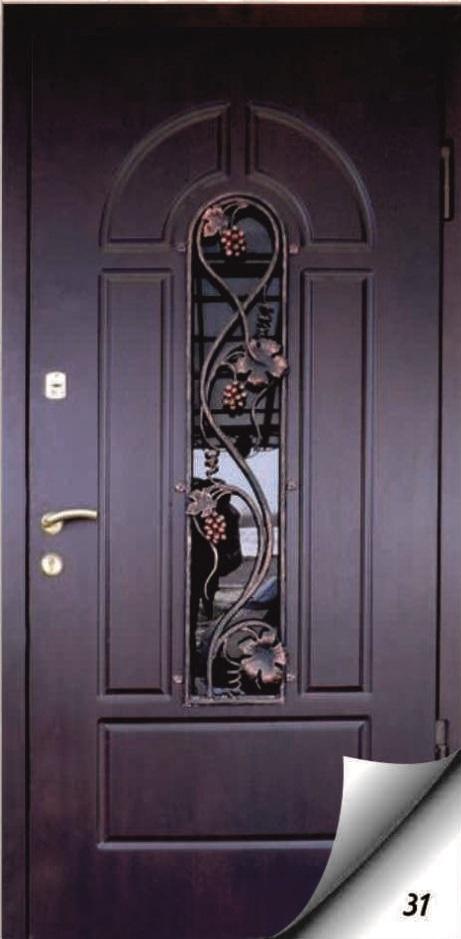 металлические двери с кованным элементом заказать