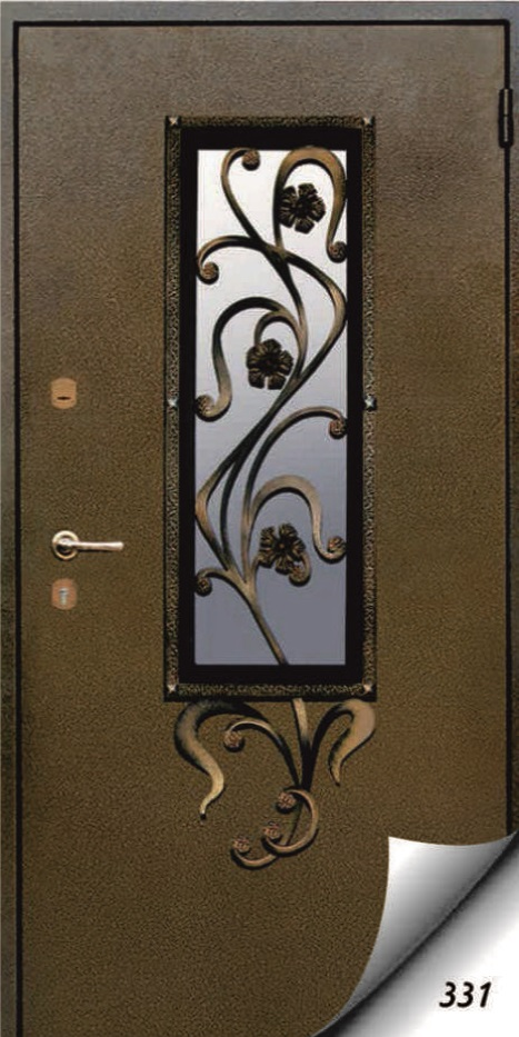 входная дверь металлическая со стеклопакетом и коваными элементами